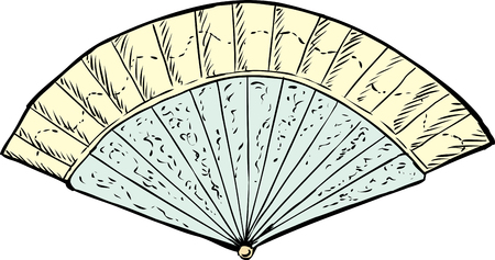 century: Doodle sketch of single open 18th century hand fan over white background