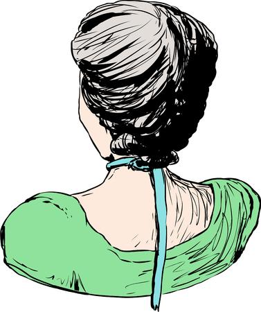 Hand drawn sketch of 18th century female hair fashion
