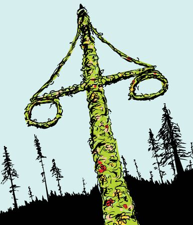 swedish: Sketch of decorated Swedish midsummer holiday Maypole with two wreaths and forest in background