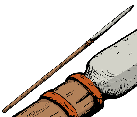saami: Full and close up view on hunting spear used in Southern Saami culture Illustration