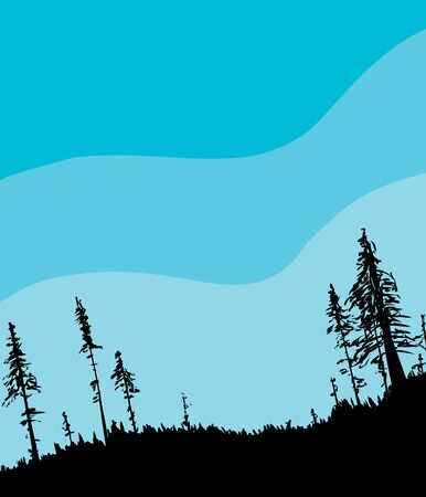 Illustration of Swedish forest woodland from low angle as nature background with blue sky