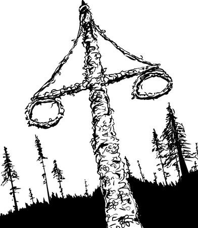 midsummer: Outline sketch of decorated Swedish midsummer holiday Maypole with two wreaths and forest in background