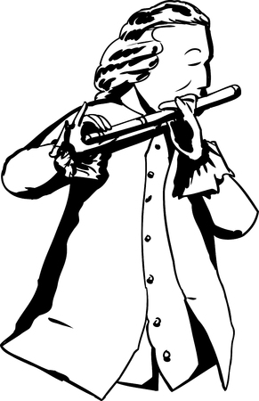 18th century: Outline illustration of single man in 18th century clothing and wig playing a flute