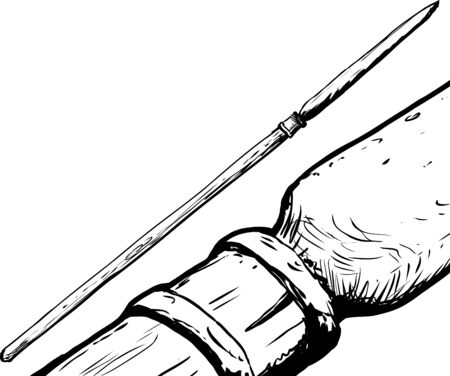 saami: Outline sketch of hunting spear used in Southern Saami culture Illustration