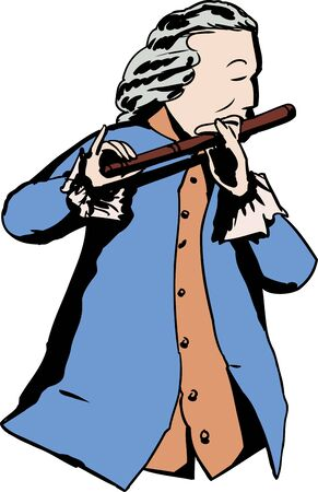 Illustration of single man in 18th century clothing and wig playing a flute Illustration