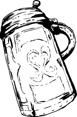 One large vintage German tankard with closed lid over white background Illustration