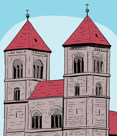 abbey: Sketch of towers on Quedlinburg Abbey under blue sky in Germany Illustration