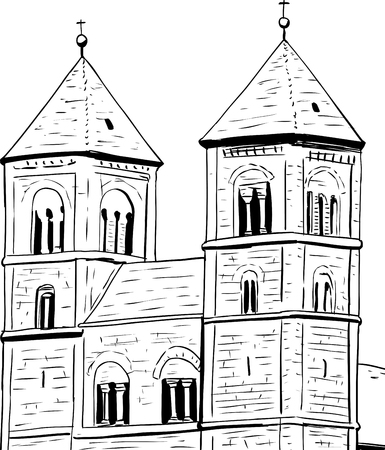 Outline sketch of towers on Quedlinburg Abbey in Germany