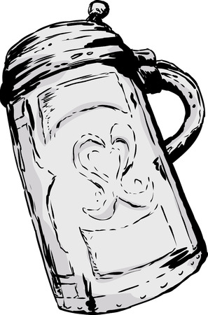 Single large antique German tankard with closed lid over white background Illustration