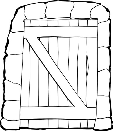 dungeon: Single outline closed dungeon doorway over white background