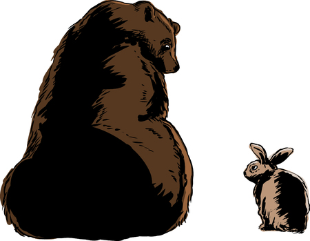 Size comparison doodle of large bear looking at little rabbit over white background