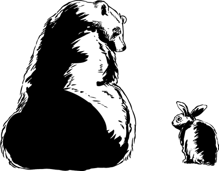 big size: Size comparison outlined cartoon of large bear looking at little rabbit over white background Illustration