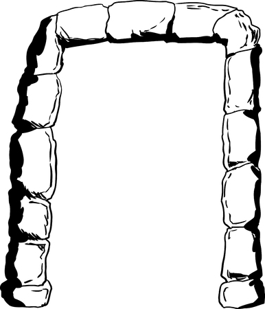 portal: Stones in shape of an arch as portal or doorway outline illustration
