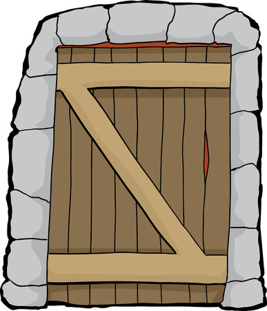 dungeon: Single closed dungeon doorway over white background Illustration