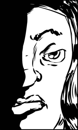 woman face close up: Outlined illustration of sneering Hispanic female looking straight ahead