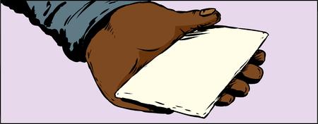 Close up illustration on hand holding sealed envelope or card
