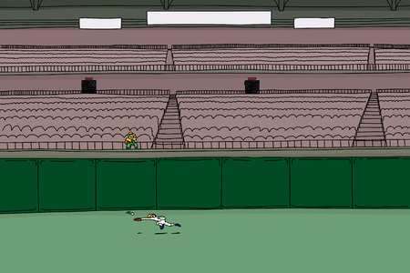 outfield: Cartoon illustration of single male spectator sitting as baseball player chases ball in outfield