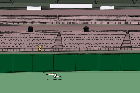 outfield: Cartoon illustration of single female spectator waving hand as baseball player chases ball in outfield