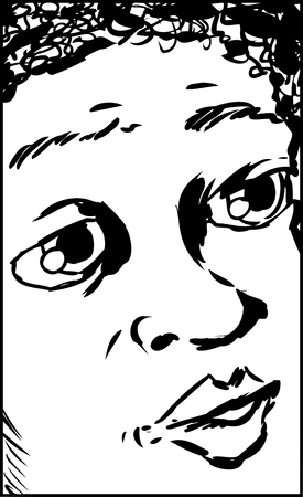 uncomfortable: Close up outline illustration on face of child asking a question