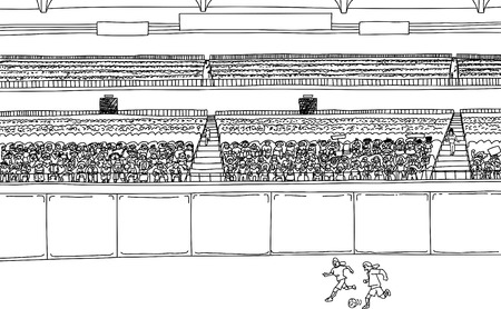 Illustration of soccer players running after ball at stadium with large diverse crowd Ilustração