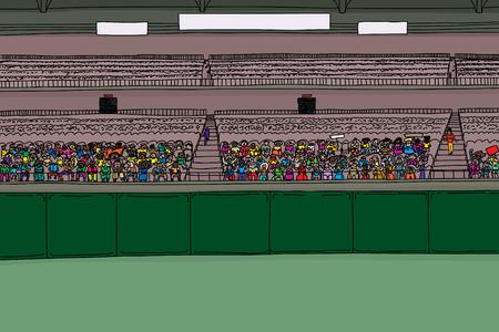 빈 점수 판 표지판 아래에 큰 다양 한 군중들과 함께 경기장의 만화 그림