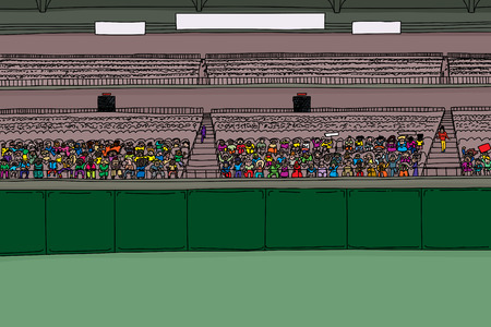 Cartoon illustration of stadium with large diverse crowd under blank scoreboard signs Çizim