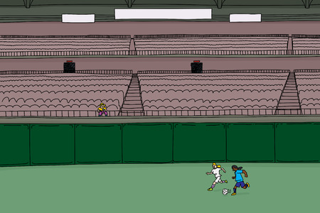 bleachers: Illustration of single man in bleachers watching two female soccer players chase a ball