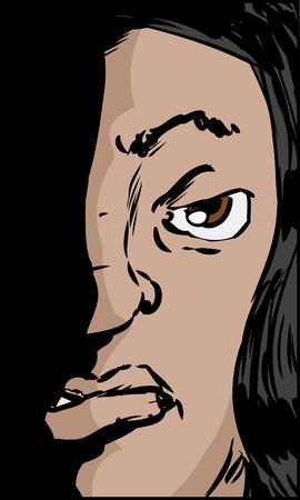 sneering: Illustration of sneering Hispanic female looking straight ahead Illustration