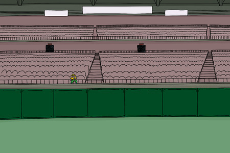 bleachers: Cartoon illustration of large stadium with single fan in front of empty playing field Illustration