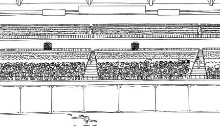 空白のスコアボードの兆候を有するスタジアムの大きな概要図でボールを跳躍の外野手