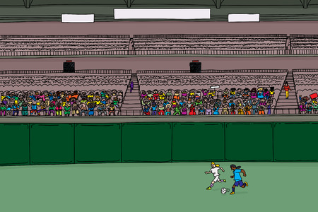 bleachers: Illustration of soccer players running after ball at stadium with large diverse crowd under blank scoreboard Illustration
