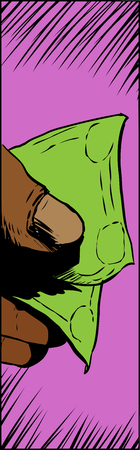 holding close: Close up illustration of fingers holding a folded cash bill Illustration