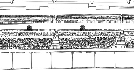 bleachers: Large cartoon outline of stadium with diverse crowd under blank scoreboard signs Illustration
