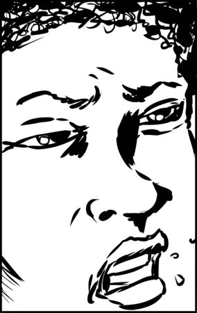 Cropped frame on face of African male with frustrated expression