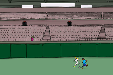 bleachers: Doodle cartoon of empty stadium with single waving fan and two soccer players chasing a ball
