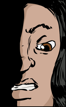 clenched: Close up illustration on face of woman with clenched teeth
