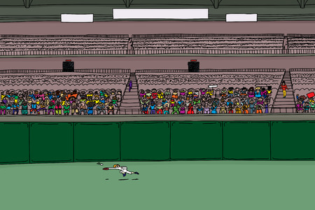 outfielder: Outfielder leaping for ball in large cartoon illustration of stadium with blank scoreboard signs Illustration