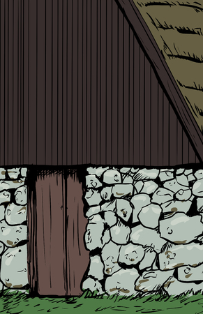 ne: Illustration close up on 18th century flaxseed drying hut common to the Skåne region of Sweden Illustration