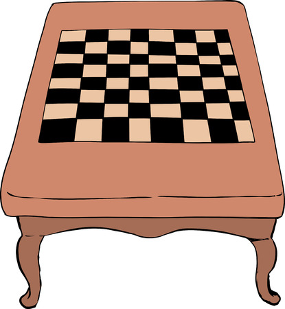 18th: High angle view on drawing of 18th century chess table with short curved legs