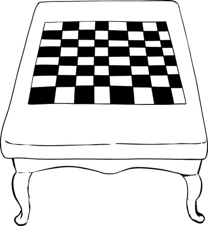 curved leg: High angle view on outline sketch of 18th century chess table with short curved legs Illustration