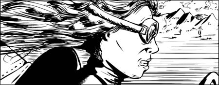 speeder: Outline illustration of intense woman in goggles racing her car in desert