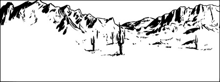 Outlined illustration of wide desert mountain landscape with clear sky Illustration