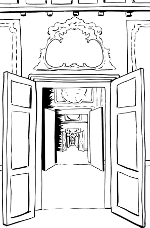 doorways: Outline illustration of one point perspective view between multiple doorways through halls