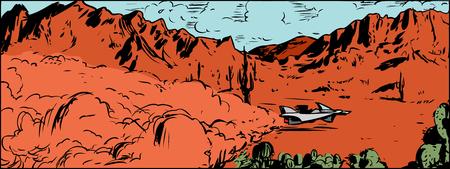 speeding: Illustration of science fiction hovering anti-gravity racer vehicle speeding across desert with mountain in background Illustration