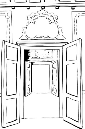 Two sets of outlined open doors surrounded by ornate rococo design  イラスト・ベクター素材