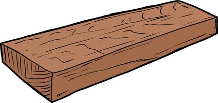 白い背景の上の寸法木材のシングル カット作品のイラスト  イラスト・ベクター素材