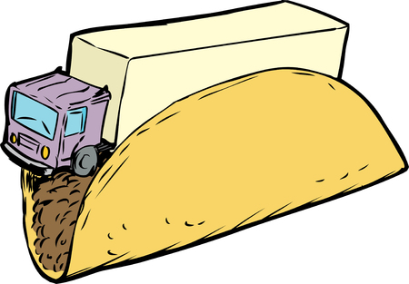 tractor trailer: Single corn taco shell and tractor trailer truck for fun with words cartoon