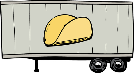 Freehand doodle of truck trailer with taco shell symbol on side