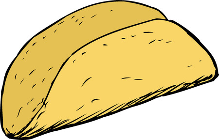 Sketched cartoon of single empty taco shell over white background