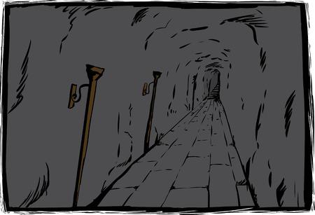 Long unlit dungeon passage with stone block floor
